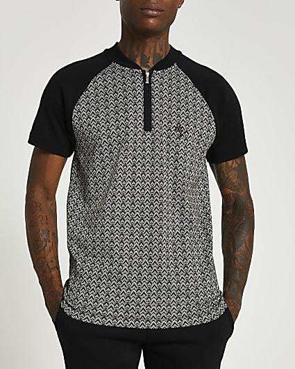 Black geometric print zip slim fit polo shirt