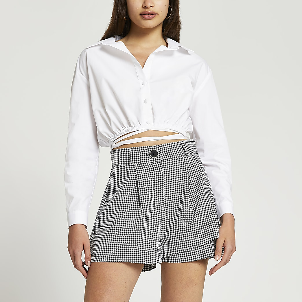 Black gingham double layer shorts