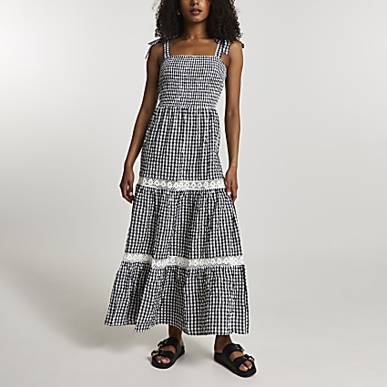 Black gingham lace trim maxi dress