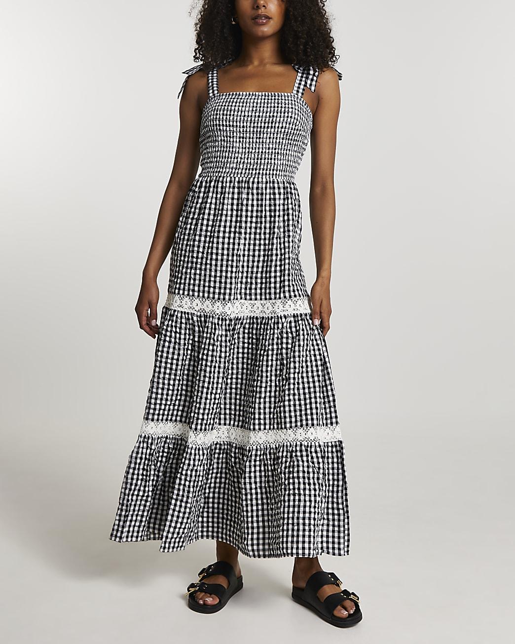 Black gingham maxi dress