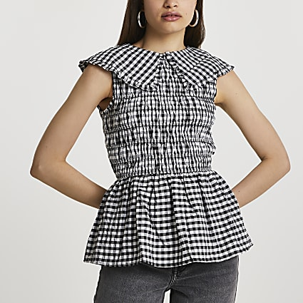 Black gingham oversized collar top