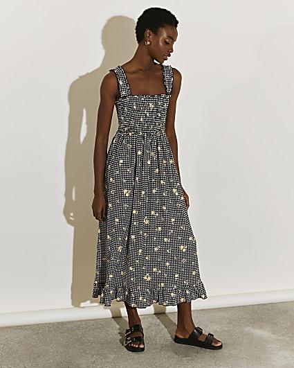Black gingham shirred midi dress