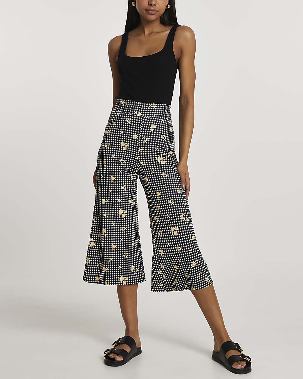 Black gingham shirred waist culottes