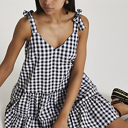 Black gingham smock dress