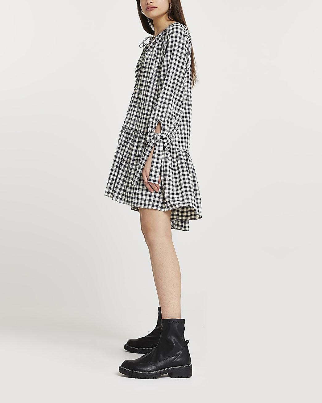 Black gingham tie neck smock mini dress