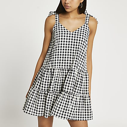 Black gingham tie strap smock dress