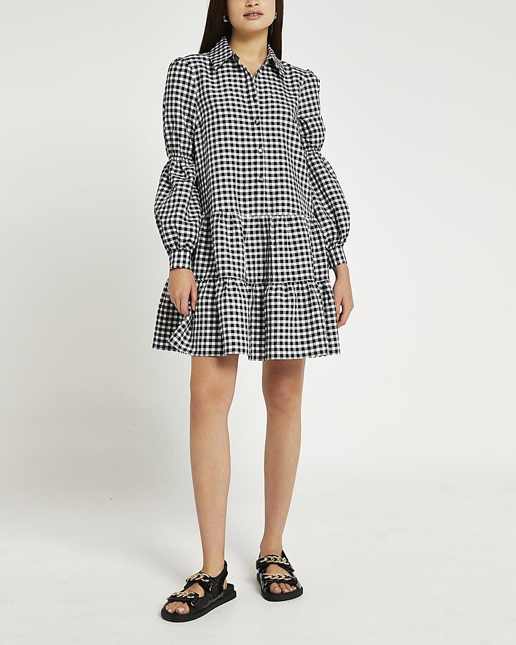 Black gingham tiered mini dress