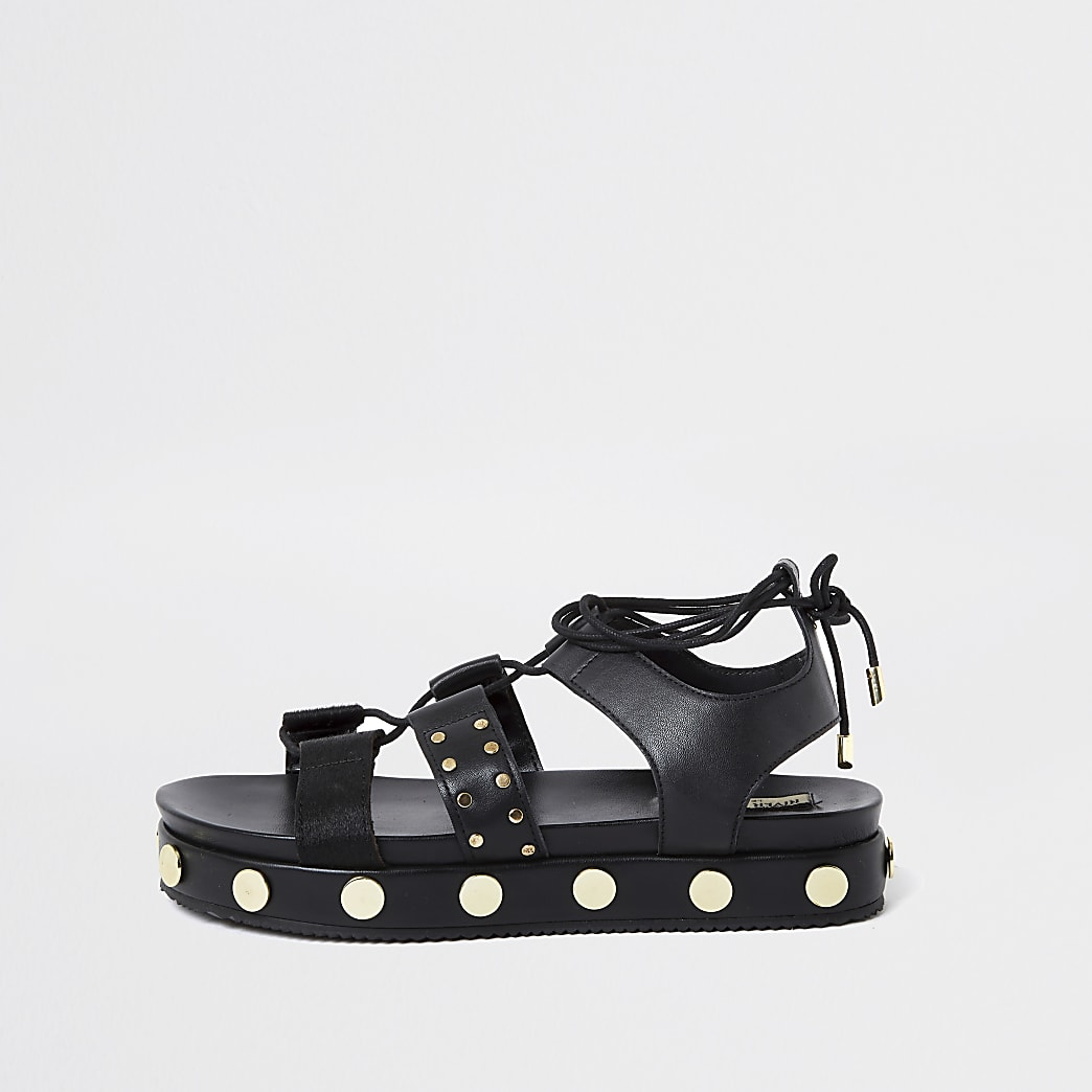 Black gladiator stud flatform sandal