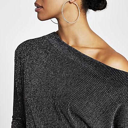 Black glitter asymmetric long sleeve top