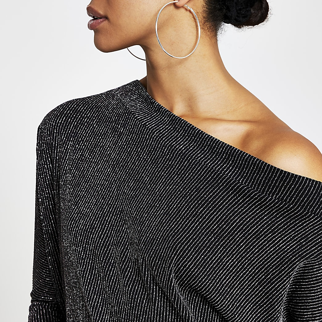 Black glitter asymmetric long sleeve top