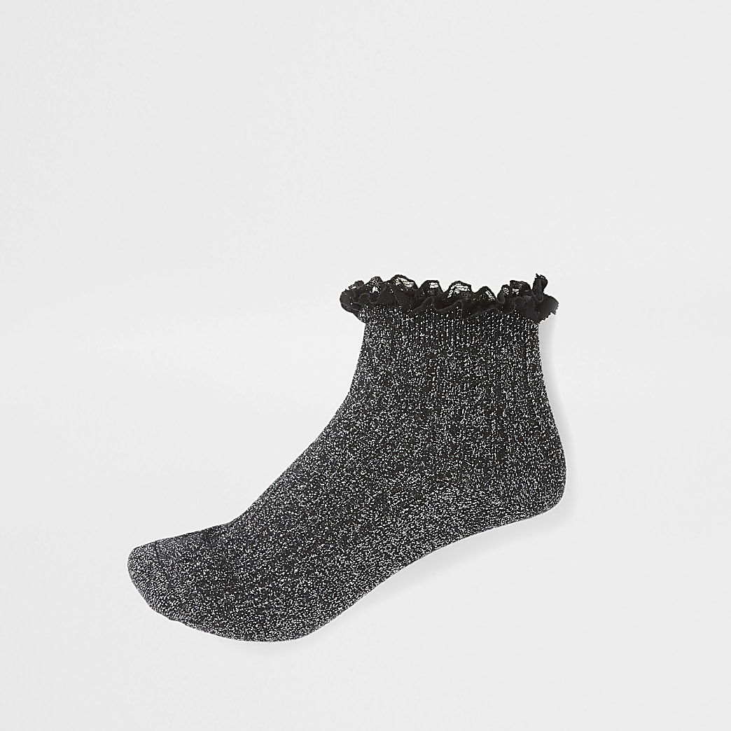 Black glitter frill cable knit ankle socks