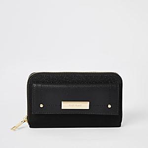 Zwarte portemonnee met rits rondom, glitters en zak voor
