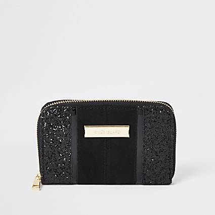 Black glitter small zip around purse