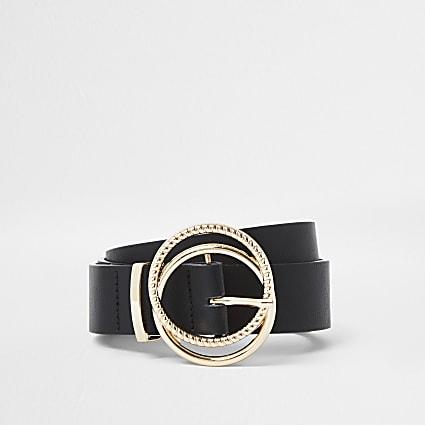 Black gold buckle belt