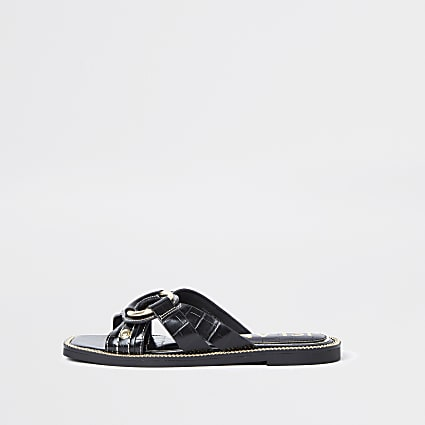 Black gold buckle cross sandals
