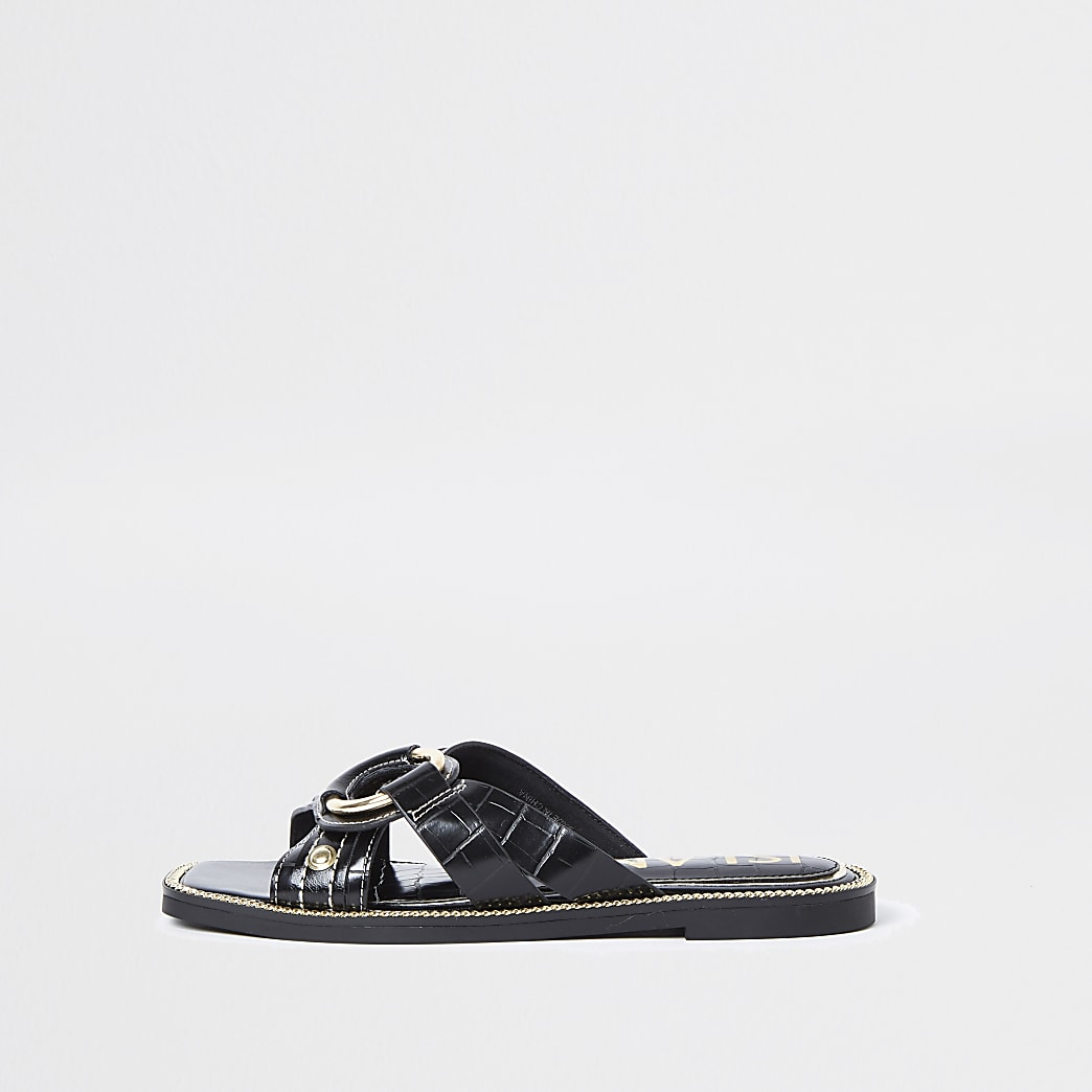 Black gold buckle cross sandals