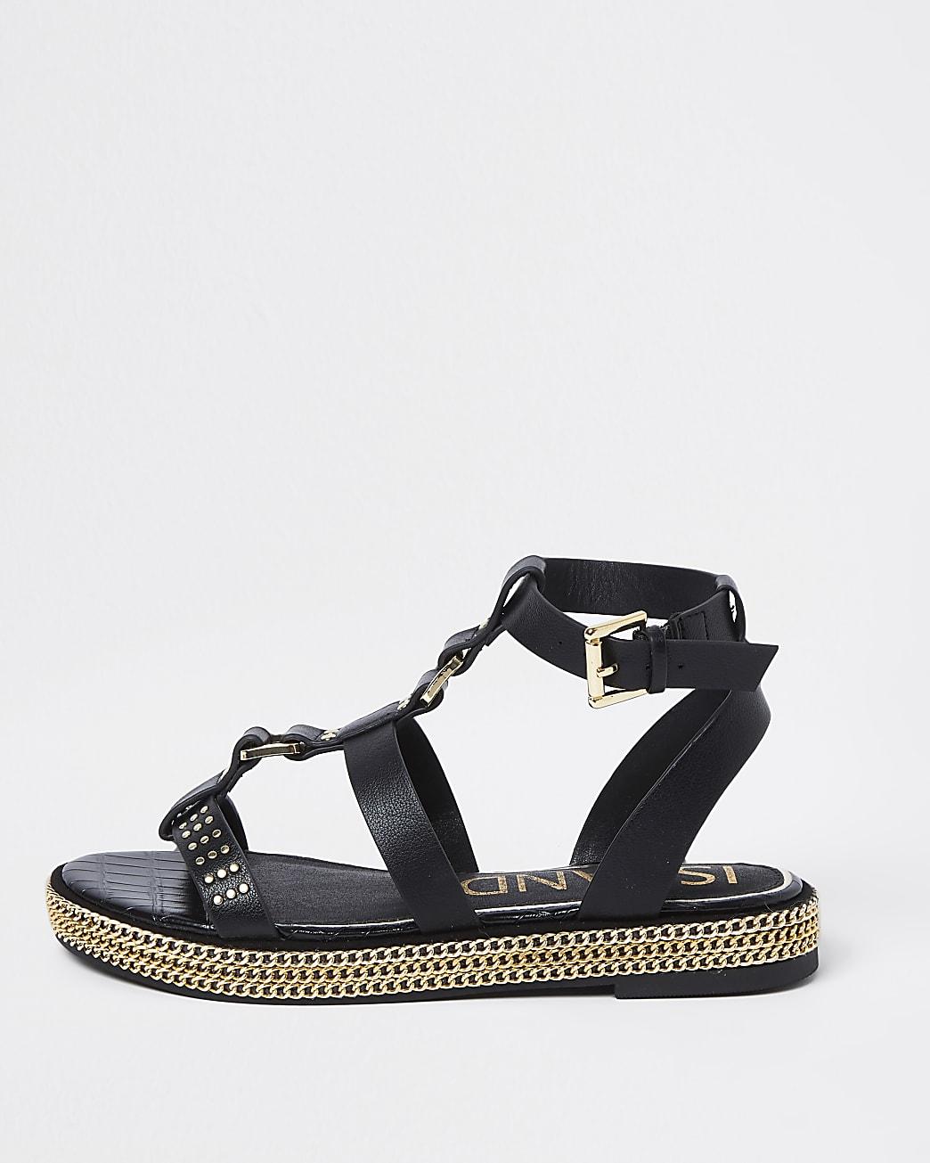 Black gold chain flatform sandals