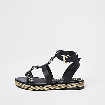 Black gold chain flatform sandals