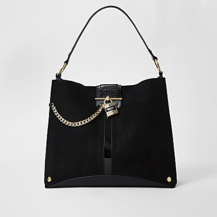 Black gold chain padlock slouch bag