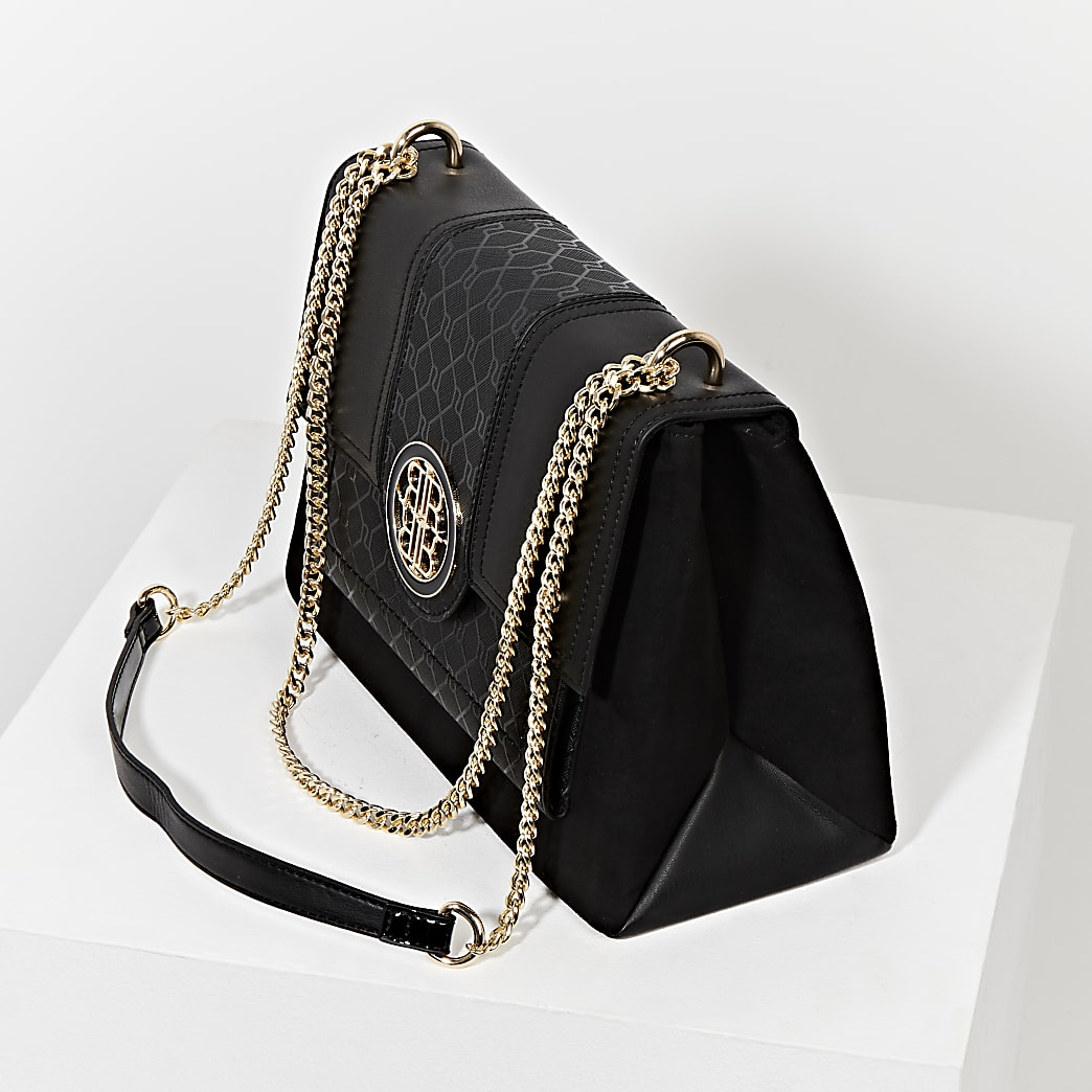 Black gold chain shoulder bag