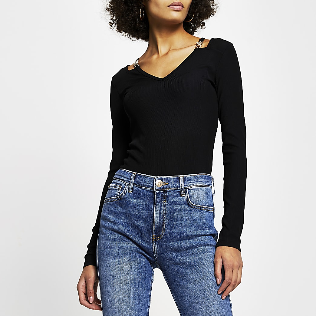 Black gold chain shoulder detail v neck top