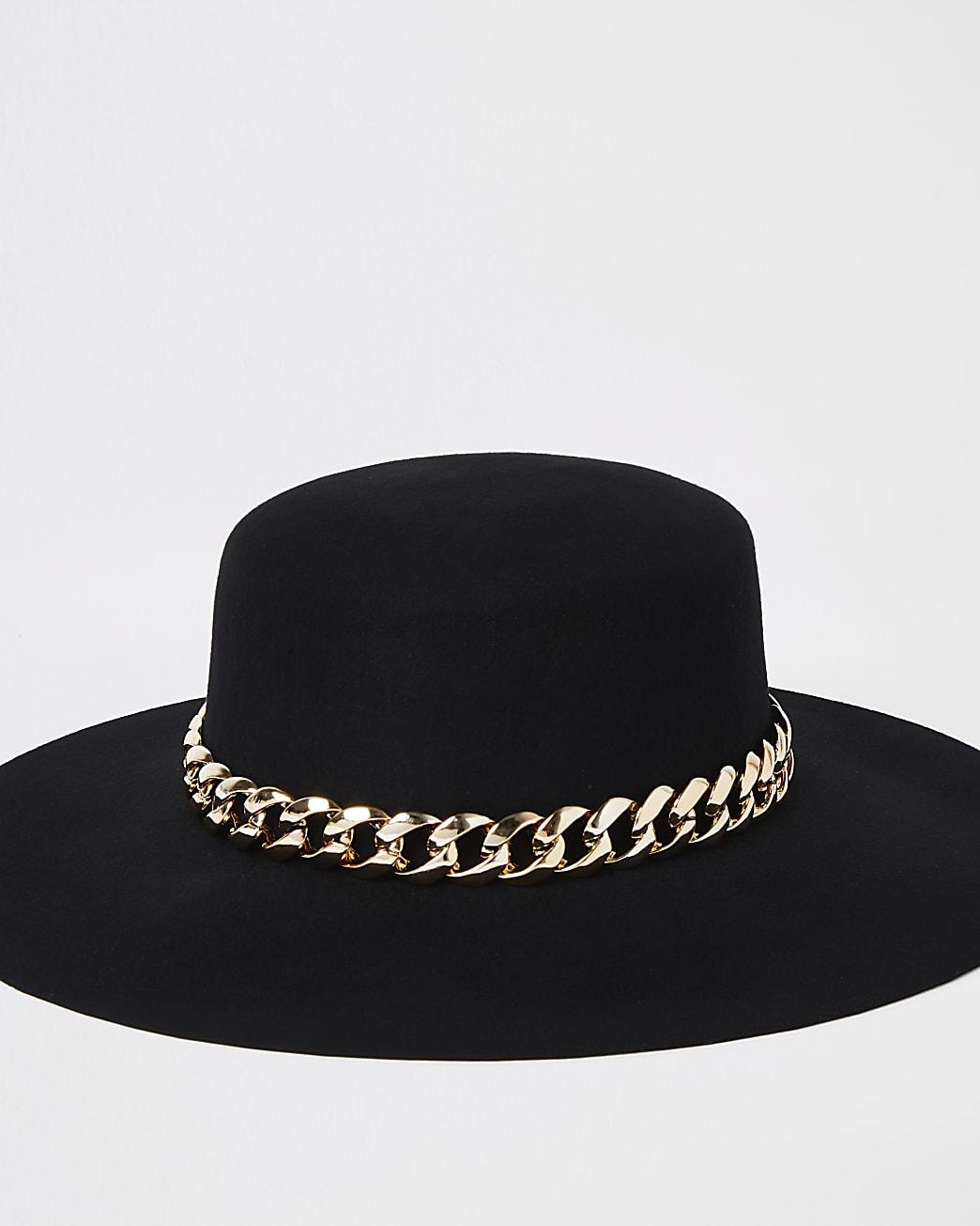 Black gold chain trim fedora hat