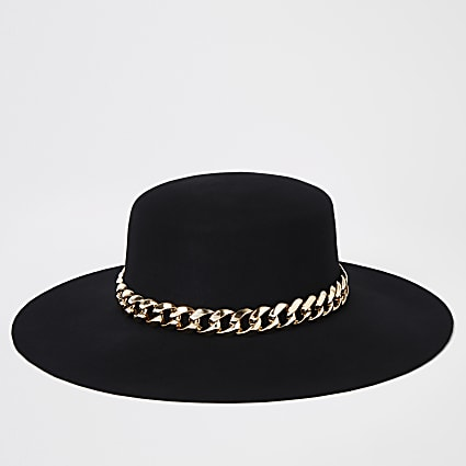 Black gold chain trim fedora hat