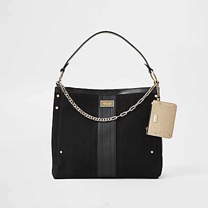 Black gold chain with mini pouch slouch bag