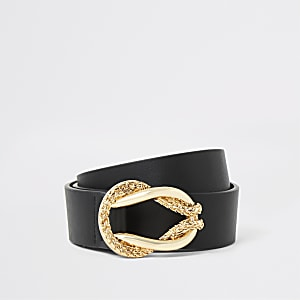 Schwarzer Gürtel mit goldfarbener Schnalle im Seil-Design