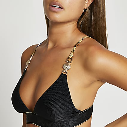 Black gold detail triangle bikini top