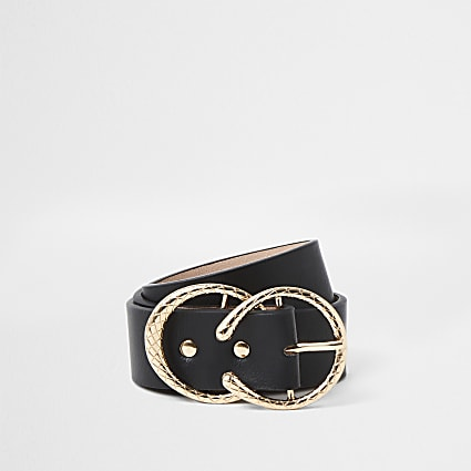 Black gold textured circle belt