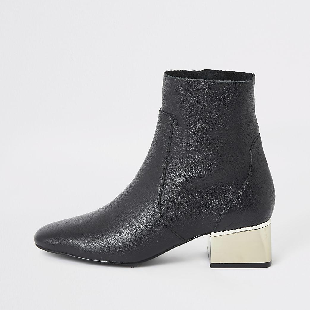 Black gold tone block heel boots