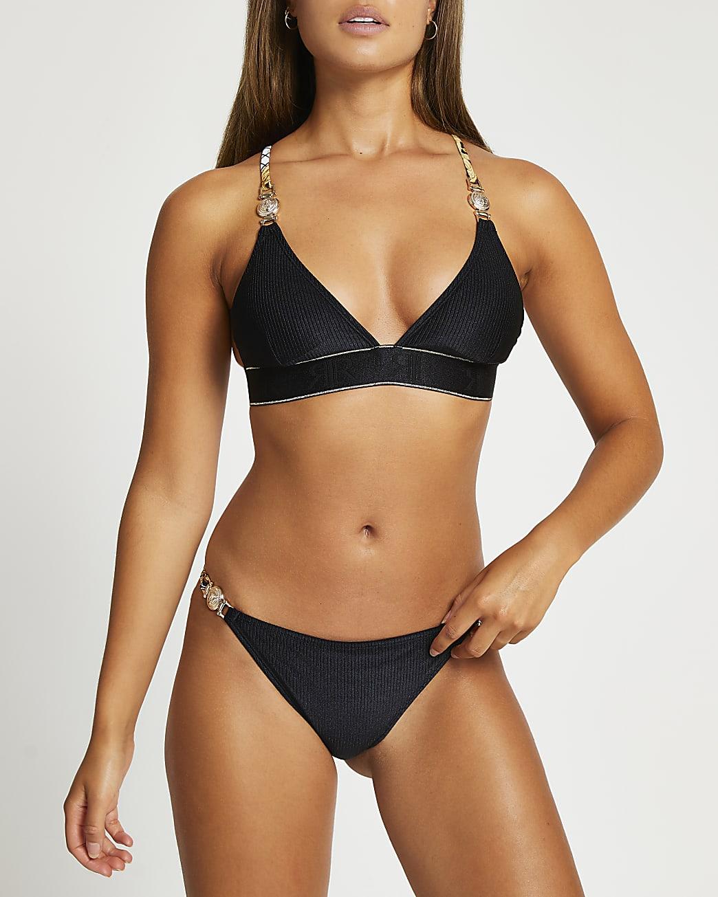 Black gold trim low rise bikini briefs