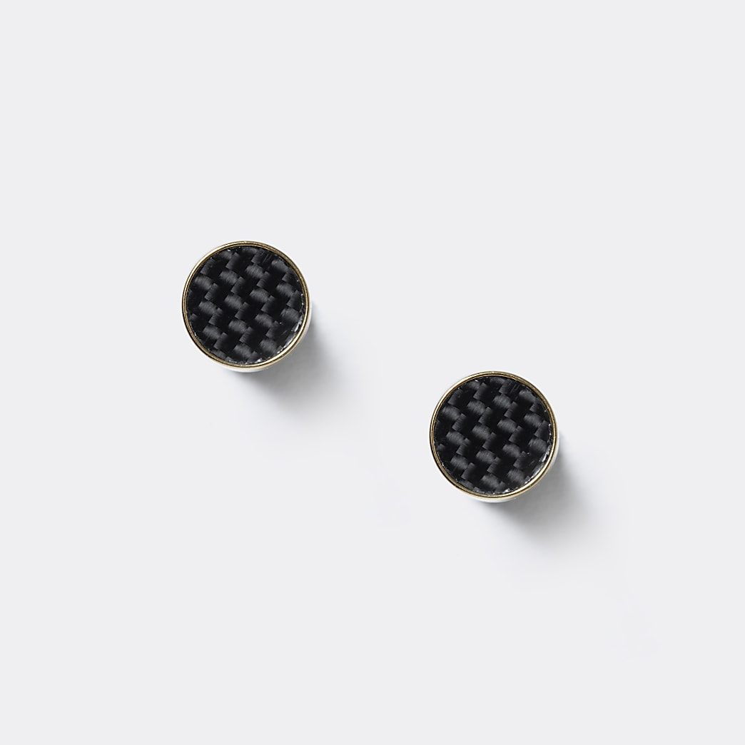 Black gold weave tunnel earring