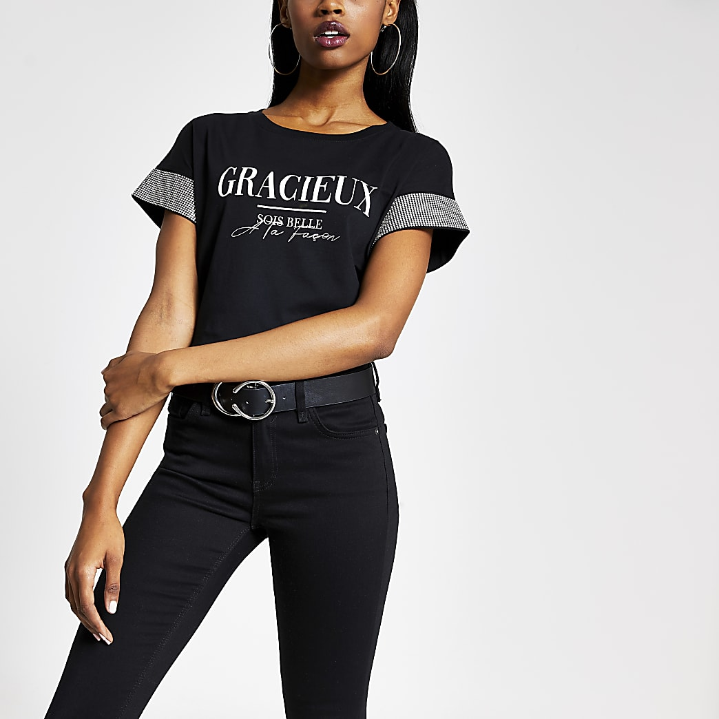 Black 'Gracieux' diamante sleeve T-shirt