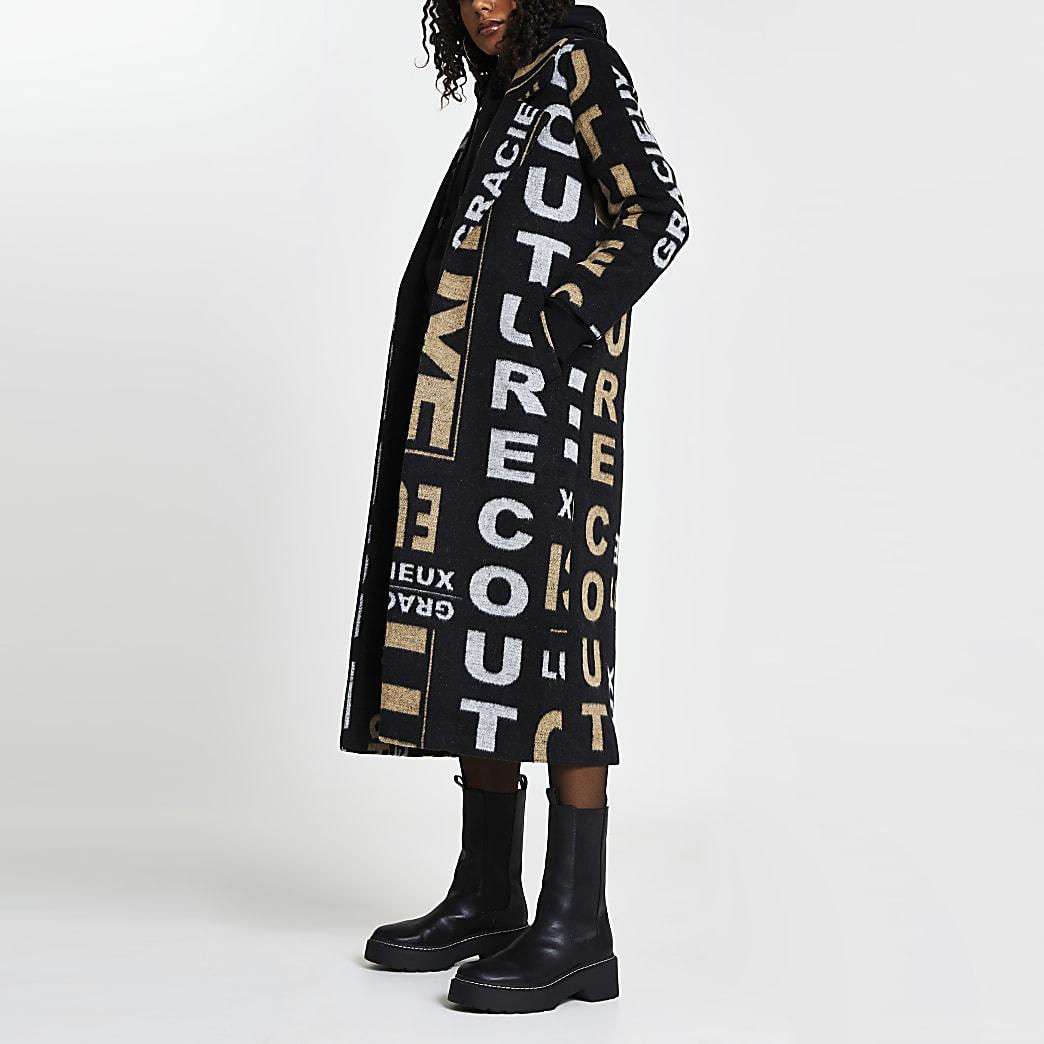 Black 'Gracieux Luxe' print longline coat