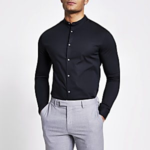 Chemise ajustée à col grand-père noire