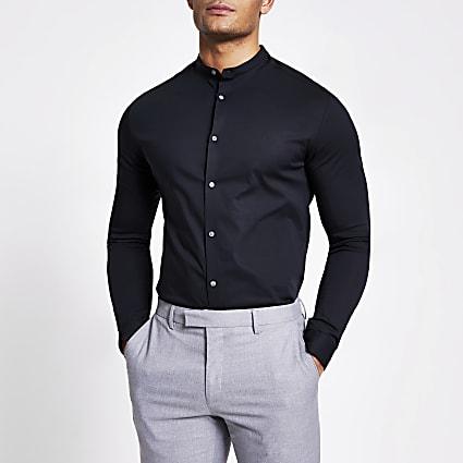 Black grandad muscle fit long sleeve shirt