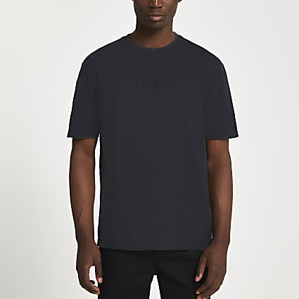 Black graphic embroidered t-shirt