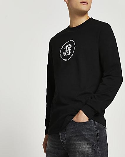 Black graphic long sleeve t-shirt