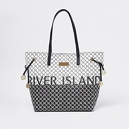 Black graphic monogram shopper bag