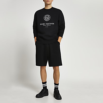 Black graphic print long sleeve sweatshirt