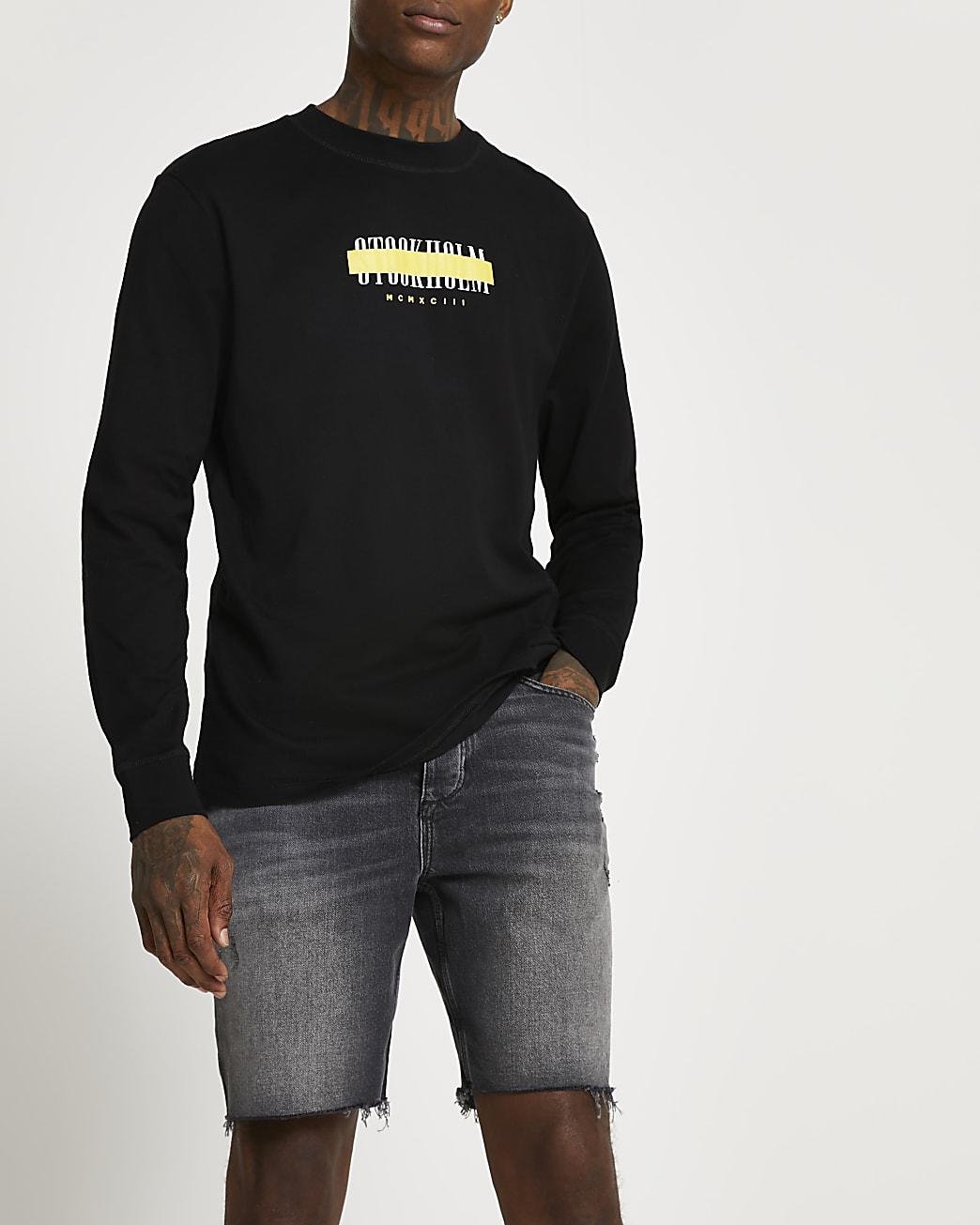 Black graphic regular fit long sleeve t-shirt