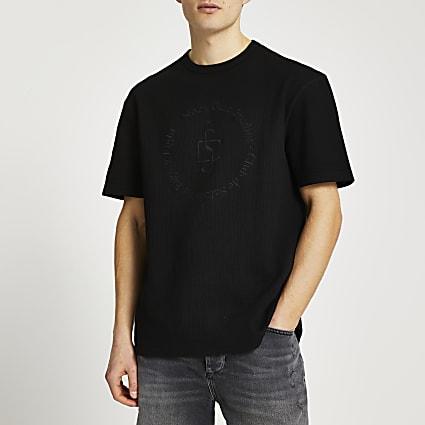Black graphic ribbed t-shirt