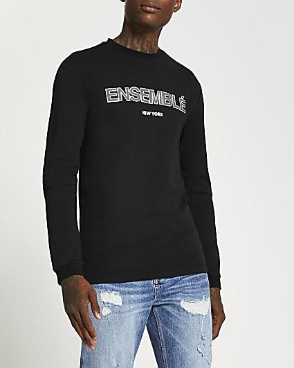 Black graphic slim fit long sleeve t-shirt