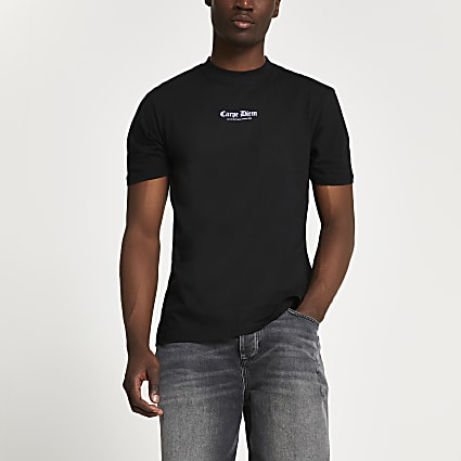 Black graphic slim fit t-shirt