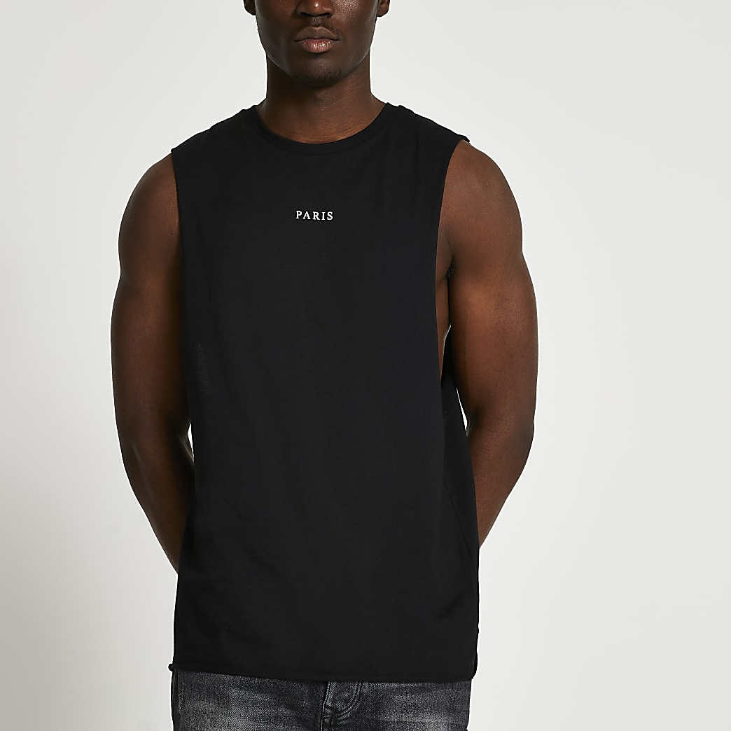 Black graphic vest