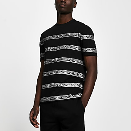 Black Greek river stripe slim fit t-shirt