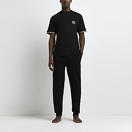 Black Greek t-shirt and jogger pyjama set