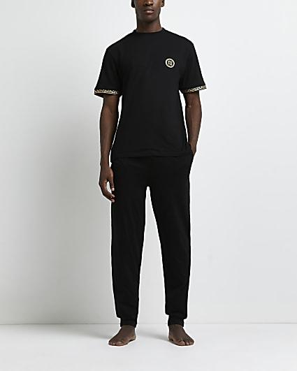 Black Greek t-shirt and jogger pyjama set